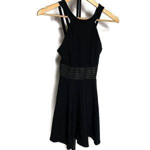 ASOS Black Halter Top Skater Mesh Mini Dress